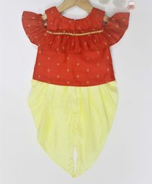 Many frocks & Chanderi Sleeveless Kurta With Dhoti - Red & Yellow