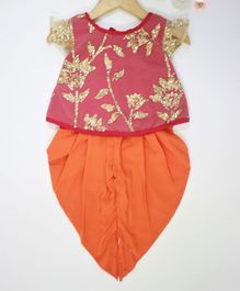 Many frocks & Cap Sleeves Flower Glitter Detailing Kurta & Dhoti Set - Pink & Orange