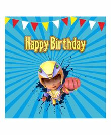 Untumble Happy Birthday Vir The Robot Boy Party Backdrop 4 Feet - Blue