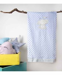 Kicks & Crawl Dual Sided Baby Blanket Elephant Embroidery - Blue