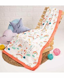 Kicks & Crawl Quilted Muslin Blanket Unicorns & Dreams Print - Orange