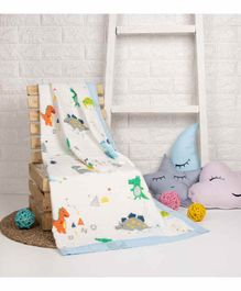 Kicks & Crawl Quilted Muslin Blanket  Dino Print - Multicolor