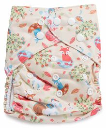 Kicks and Crawl Reusable Cloth Diaper with Insert Fox Print - Cream