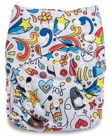 Kicks and Crawl Reusable Cloth Diaper with Insert Rock Star Print - Multicolor