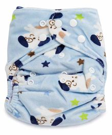 Kicks and Crawl Reusable Velvet Cloth Diaper with Insert Puppy Print - Blue