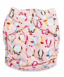 Kicks and Crawl Reusable Velvet Cloth Diaper with Insert Penguin Print - Pink