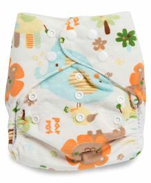 Kicks and Crawl Reusable Velvet Cloth Diaper with Insert Elephant Print - White