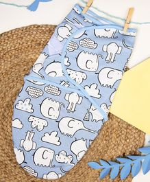 Kicks & Crawl Baby Elephant Swaddle Wrapper - Blue