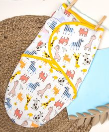 Kicks & Crawl Zoo Day Swaddle Wrapper - White