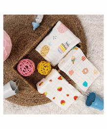 Kicks & Crawl Wash Cloth Fruits And Ice Cream Print Pack of 3 - White