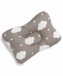 Kicks and Crawl Head & Neck Support Pillow Cloud Print - Grey