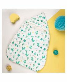 Kicks and Crawl Baby Sleeping Bag Forest Print - White