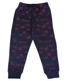 Crazy Penguin Car Printed Full Length Lounge Pants - Blue
