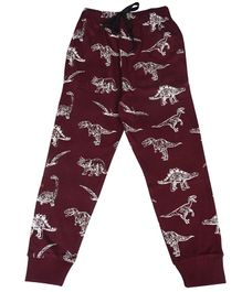 Crazy Penguin Dino Full Length Lounge Pants - Maroon