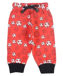 Crazy Penguin Ball Printed Full Length Lounge Pants - Red