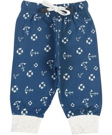 Crazy Penguin Anchor Printed Full Length Lounge Pants - Blue