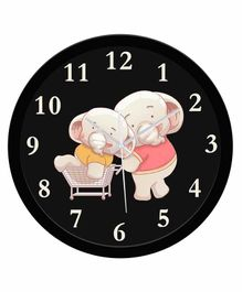 WENS Elephant Printed Silent Non-Ticking Wall Clock - Black