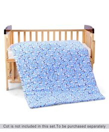 Zoe Quilt Snow Bear Print - Blue