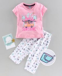 Teddy Half Sleeves Night Suit Sunshine Print - Pink