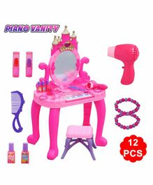Fiddlerz Piano Shaped Dressing Table and Beauty Set with Music Pack of 12 Pieces  - Pink
