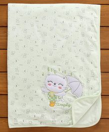 Simply Baby Wrapper Kitty Embroidery - Green