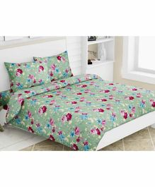 Haus & Kinder Floral Dreams 100% Cotton Double Bedsheet King Size With 2 Pillow Covers - Green