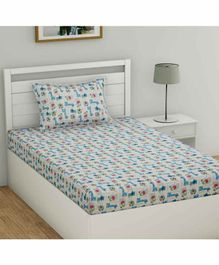Haus & Kinder Cotton Single Bedsheet With Pillow Cover Animal Print  - White Blue