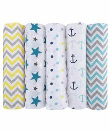 Haus & Kinder Cotton Muslin Swaddle Wrapper Pack of 5 - Multicolour