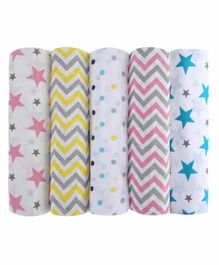 haus & kinder 100% Cotton Muslin Swaddle Wrapper Pack of 5 - White