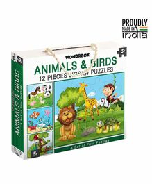 Wondrbox Animals & Birds Jigsaw Puzzle Set of 4 - 12 Pieces Each