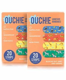 Aya Papaya Ouchie Non-Toxic Printed Bandages Pack of 2 Orange - 20 Pieces