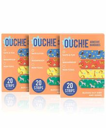 Aya Papaya Ouchie Non-Toxic Printed Bandages Pack of 3 Orange - 20 Bandages each