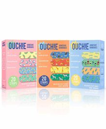 Aya Papaya Ouchie Non-Toxic Printed Bandages Pack of 3 - 20 Bandages each