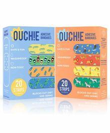 Aya Papaya Ouchie Non-Toxic Printed Bandages Pack of 2 - 20 Bandages each