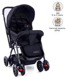 Babyhug Cocoon Stroller With Mosquito Net & Reversible Handle - Mid Night Black