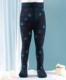 Mustang Footed Tights Anchor Design - Navy Blue