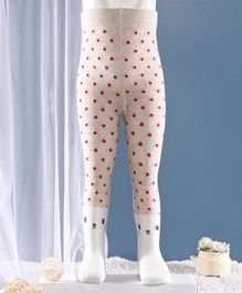 Mustang Footed Tights Dot Design - Cream