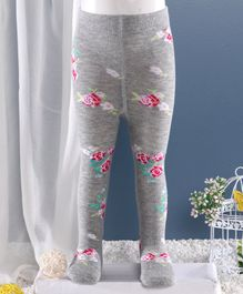 Mustang Footed Tights Floral Design  - Grey