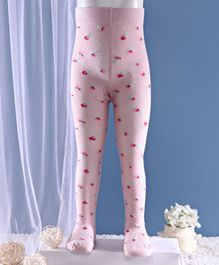 Mustang Footed Tights Floral Design - Light Pink