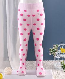 Mustang Polka Dot Footed Tights - Light Pink