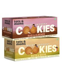 Tots and Moms Foods-Healthy & Nutritional Millet & Jaggery Cookies pack of 2 | Ragi & Almonds | Nuts & Seeds-150 gm each