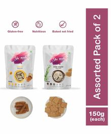 Shemade Jeera Ajwain Crackers & Almond Biscottis Pack of 2 - 150 grams each