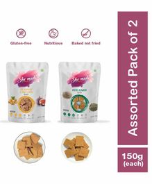 Shemade Fig Walnut Flaxseed & Methi Ajwain Toasts Pack of 2 - 150 grams each