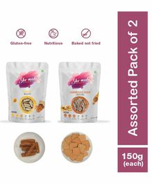 Shemade Carmelized Onion Crackers and Almond Biscuit Pack of 2 - 150 gm Each