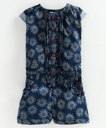 Kiddopanti Short Sleeves Denim Flower Printed Ruffle Placket Jumpsuit - Denim Blue