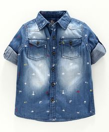 Kiddopanti Full Sleeves Sport Accessories Print  Denim Shirt - Mid Blue