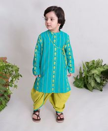 Tiber Taber Full Sleeves Fish Embroidery Angrakha Kurta & Dhoti Set - Light Blue