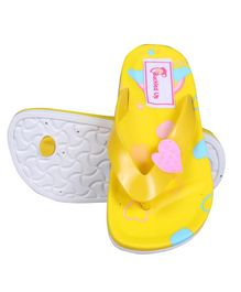 Buckled Up Heart Detailed Flip Flops - Yellow