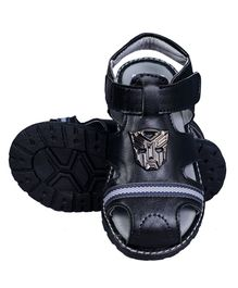 Buckled Up Anonymous Face Sandals - Black