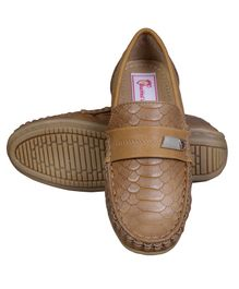 Buckled Up Scaly Design Loafers - Tan